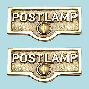 <PRE>2 Switch Plate Tags POST LAMP Name Signs Labels Brass </PRE>zoom2