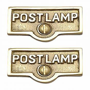 <PRE>2 Switch Plate Tags POST LAMP Name Signs Labels Brass </PRE>zoom1