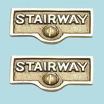 spec-<PRE>2 Switch Plate Tags STAIRWAY Name Signs Lacquered Brass </PRE>