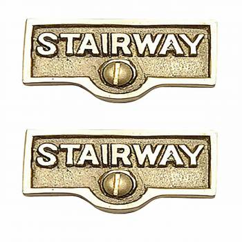 2 Switch Plate Tags STAIRWAY Name Signs Lacquered Brass