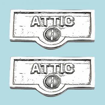 <PRE>2 Switch Plate Tags ATTIC Name Signs Labels Chrome Brass </PRE>zoom2
