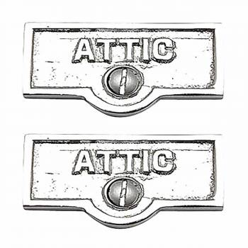 2 Switch Plate Tags ATTIC Name Signs Labels Chrome Brass Switch Plate Labels Switch Plate ID Labels Switch Plate Label