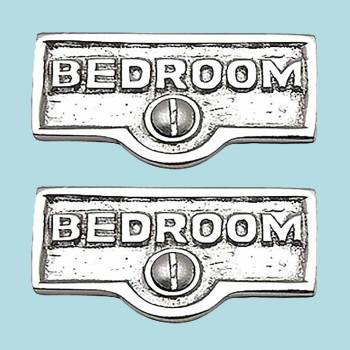 <PRE>2 Switch Plate Tags BEDROOM Name Signs Labels Chrome Brass </PRE>zoom2