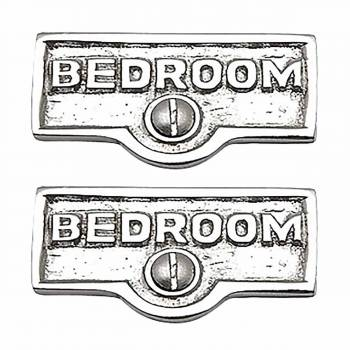<PRE>2 Switch Plate Tags BEDROOM Name Signs Labels Chrome Brass </PRE>zoom1