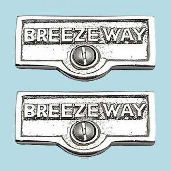 <PRE>2 Switch Plate Tags BREEZEWAY Name Signs Labels Chrome Brass </PRE>zoom2