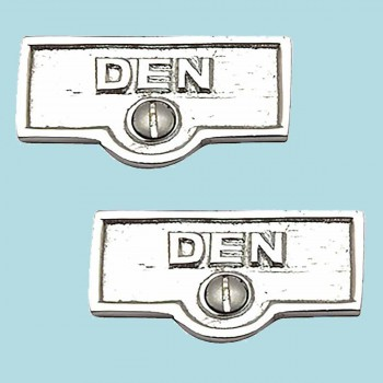 <PRE>2 Switch Plate Tags DEN Name Signs Labels Chrome Brass </PRE>zoom2