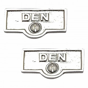 <PRE>2 Switch Plate Tags DEN Name Signs Labels Chrome Brass </PRE>zoom1