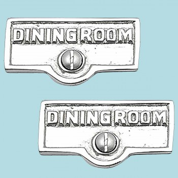 spec-<PRE>2 Switch Plate Tags DINING ROOM Name Signs Label Chrome Brass </PRE>