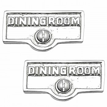 <PRE>2 Switch Plate Tags DINING ROOM Name Signs Label Chrome Brass </PRE>zoom1