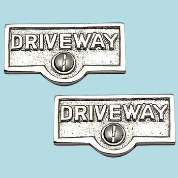 <PRE>2 Switch Plate Tags DRIVEWAY Name Signs Labels Chrome Brass </PRE>zoom2