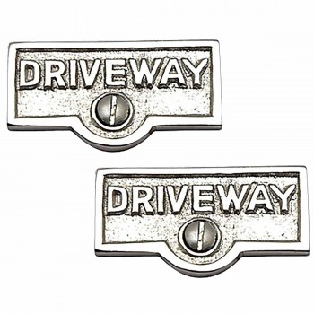 2 Switch Plate Tags DRIVEWAY Name Signs Labels Chrome Brass