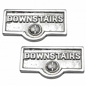 2 Switch Plate Tags DOWNSTAIRS Name Signs Labels Chrome Brass Switch Plate Labels Switch Plate ID Labels Switch Plate Label