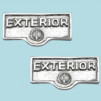 <PRE>2 Switch Plate Tags EXTERIOR Name Signs Labels Chrome Brass </PRE>zoom2