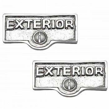 2 Switchplate Chrome Over Brass EXTERIOR Switch Tag Chrome 1 11/16 in. W