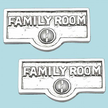 <PRE>2 Switch Plate Tags FAMILY ROOM Name Signs Label Chrome Brass </PRE>zoom2