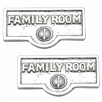 2 Switch Plate Tags FAMILY ROOM Name Signs Label Chrome Brass Switch Plate Labels Switch Plate ID Labels Switch Plate Label