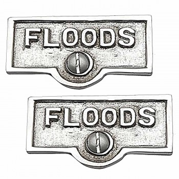2 Switch Plate Tags FLOODS Name Signs Labels Chrome Brass Switch Plate Labels Switch Plate ID Labels Switch Plate Label