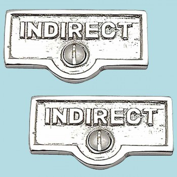 <PRE>2 Switch Plate Tags INDIRECT Name Signs Labels Chrome Brass </PRE>zoom2