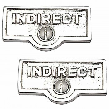 <PRE>2 Switch Plate Tags INDIRECT Name Signs Labels Chrome Brass </PRE>zoom1