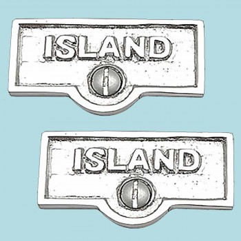 spec-<PRE>2 Switch Plate Tags ISLAND Name Signs Labels Chrome Brass </PRE>