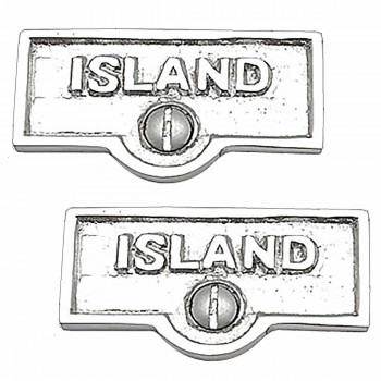 <PRE>2 Switch Plate Tags ISLAND Name Signs Labels Chrome Brass </PRE>zoom1