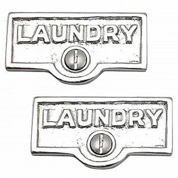 <PRE>2 Switch Plate Tags LAUNDRY Name Signs Labels Chrome Brass </PRE>zoom1