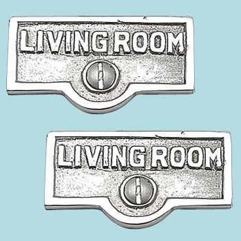 <PRE>2 Switch Plate Tags LIVING ROOM Name Sign Labels Chrome Brass </PRE>zoom2