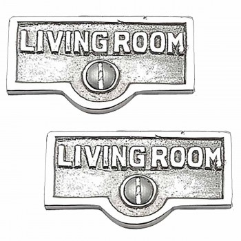2 Switch Plate Tags LIVING ROOM Name Sign Labels Chrome Brass