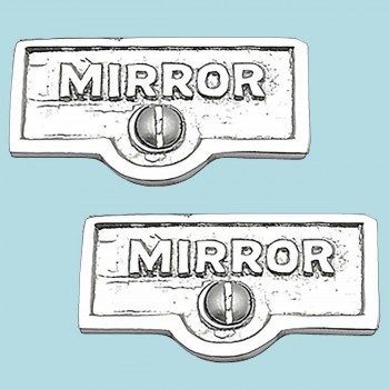 <PRE>2 Switch Plate Tags MIRROR Name Signs Labels Chrome Brass </PRE>zoom2