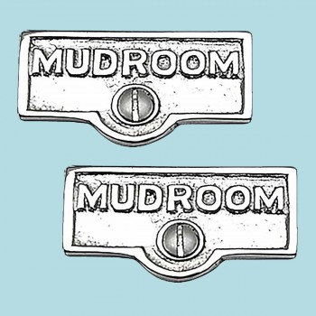 <PRE>2 Switch Plate Tags MUDROOM Name Signs Labels Chrome Brass </PRE>zoom2