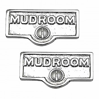 <PRE>2 Switch Plate Tags MUDROOM Name Signs Labels Chrome Brass </PRE>zoom1