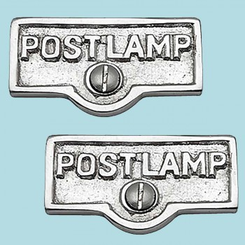 <PRE>2 Switch Plate Tags POST LAMP Name Signs Labels Chrome Brass </PRE>zoom2