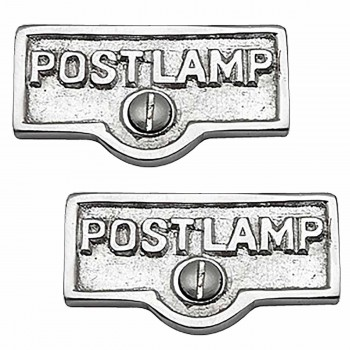 <PRE>2 Switch Plate Tags POST LAMP Name Signs Labels Chrome Brass </PRE>zoom1