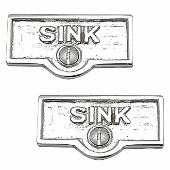 2 Switch Plate Tags SINK Name Signs Labels Chrome Brass