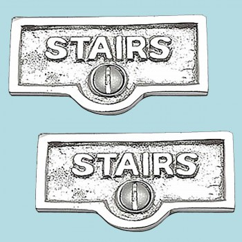 <PRE>2 Switch Plate Tags STAIRS Name Signs Labels Chrome Brass </PRE>zoom2