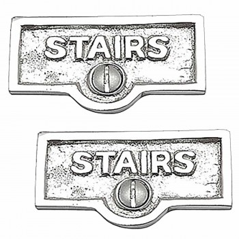 <PRE>2 Switch Plate Tags STAIRS Name Signs Labels Chrome Brass </PRE>zoom1