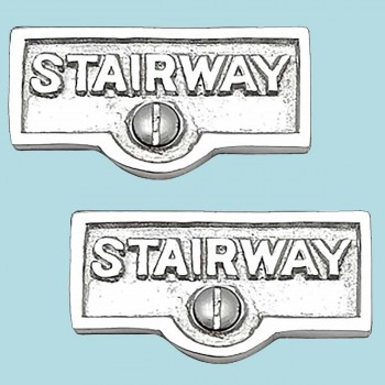 <PRE>2 Switch Plate Tags STAIRWAY Name Signs Labels Chrome Brass </PRE>zoom2