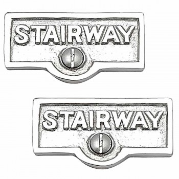 <PRE>2 Switch Plate Tags STAIRWAY Name Signs Labels Chrome Brass </PRE>zoom1