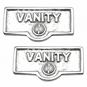 <PRE>2 Switch Plate Tags VANITY Name Signs Labels Chrome Brass </PRE>zoom1