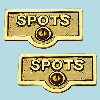 <PRE>2 Switch Plate Tags SPOTS Name Signs Labels Lacquered Brass </PRE>zoom2