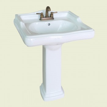<PRE>Classic White Pedestal Sink China 4inch Centerset Faucet Hole Scratch Resistant </PRE>zoom2