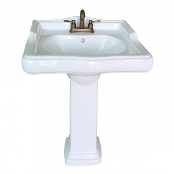 <PRE>Classic White Pedestal Sink China 4inch Centerset Faucet Hole Scratch Resistant </PRE>zoom3
