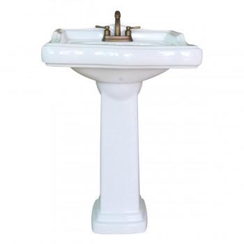 <PRE>Classic White Pedestal Sink China 4inch Centerset Faucet Hole Scratch Resistant </PRE>zoom4