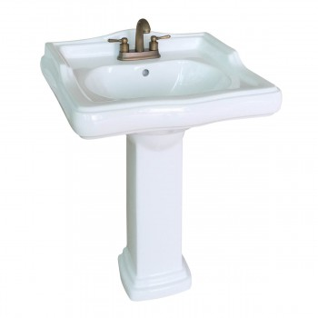Classic Pedestal Sink White China 4 Centerset Faucet Hole