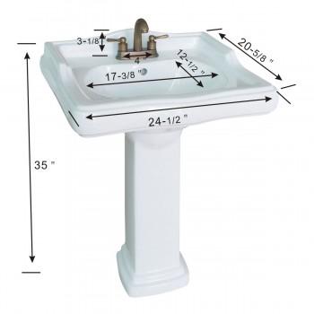 spec-<PRE>Classic Pedestal Sink White China 4&quot; Centerset Faucet Hole</PRE>