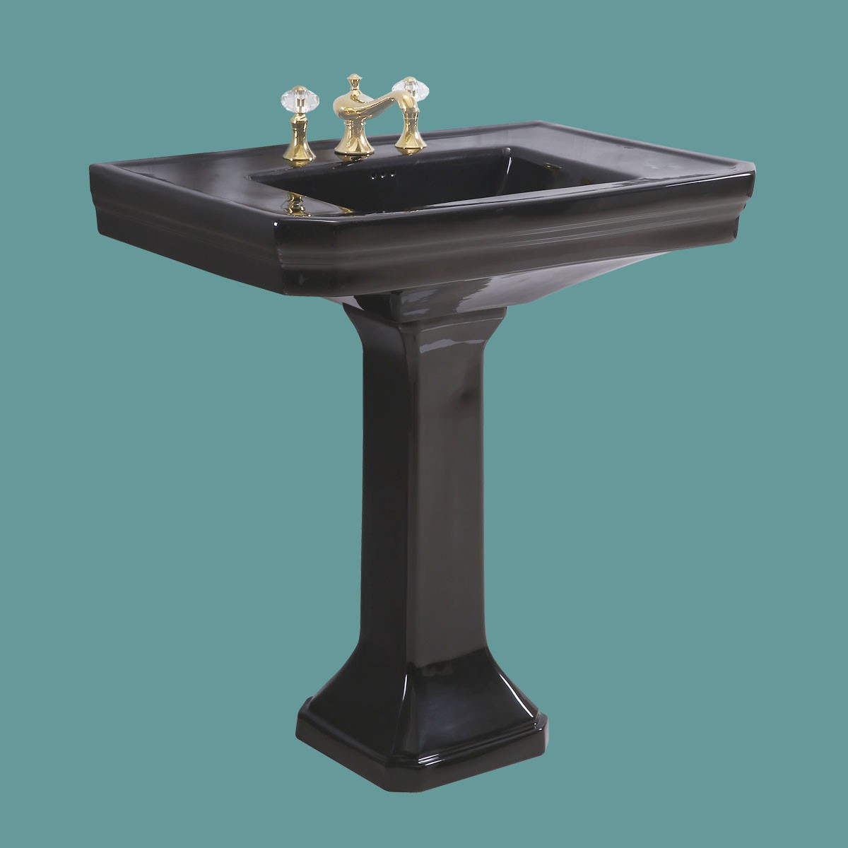 Large Black Victorian Widespread Bathroom Pedestal Sink
