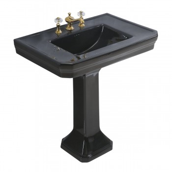 <PRE>Large Black Victorian Widespread Bathroom Pedestal Sink </PRE>zoom3