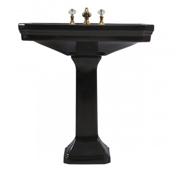 <PRE>Large Black Victorian Widespread Bathroom Pedestal Sink </PRE>zoom4
