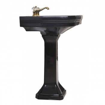 <PRE>Large Black Victorian Widespread Bathroom Pedestal Sink </PRE>zoom5