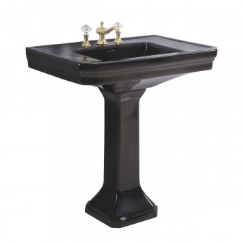 Large Black Victorian Bathroom Pedestal Sink Vitreous China